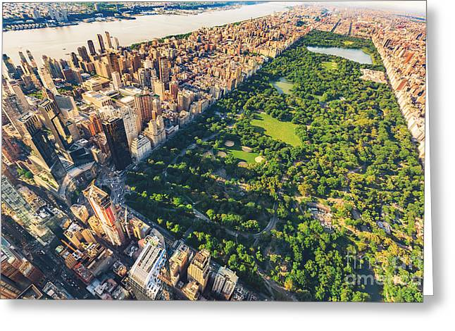 Aerial View Of Manhattan New York Greeting Card