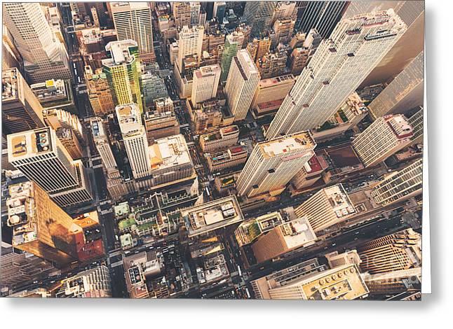 Aerial View Of Midtown Manhattan At Greeting Card by Tierneymj