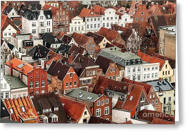 Aerial View Of Old German Town Of Lubeck Greeting Card