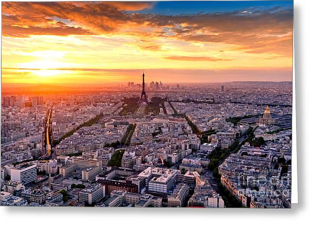 Aerial View Of Paris At Sunset Greeting Card