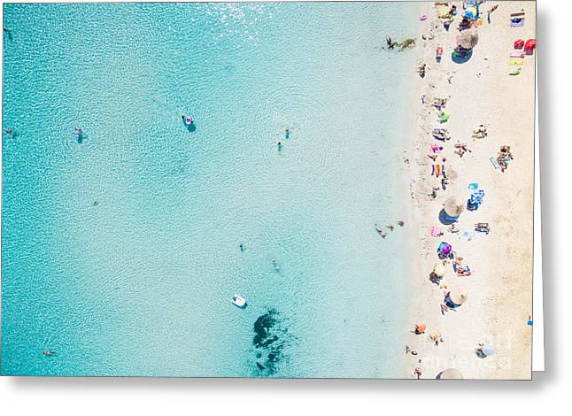 Aerial View Of Sandy Beach With Greeting Card