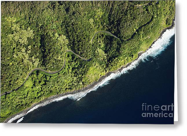 Aerial View Of Scenic Road Along Coast Greeting Card