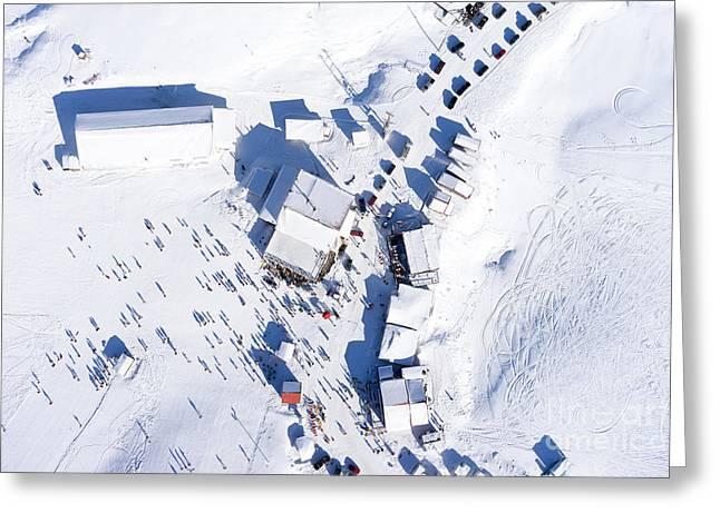 Aerial View Of Ski Resort Falakro, In Greeting Card