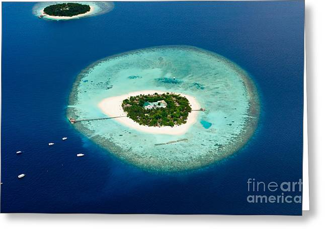 Aerial View Of Two Maldive Islands And Greeting Card