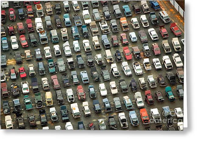 Aerial View Of Wrecked Cars In Greeting Card