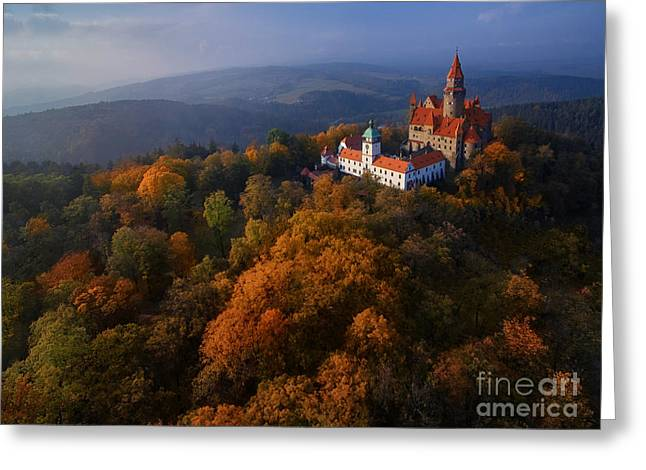 Aerial View On Romantic Fairy Castle In Greeting Card