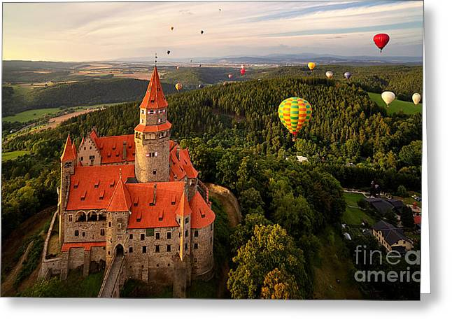 Aerial View On Romantic Fairy Castle Greeting Card