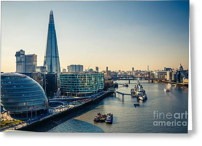 Aerial View On Thames And London City Greeting Card