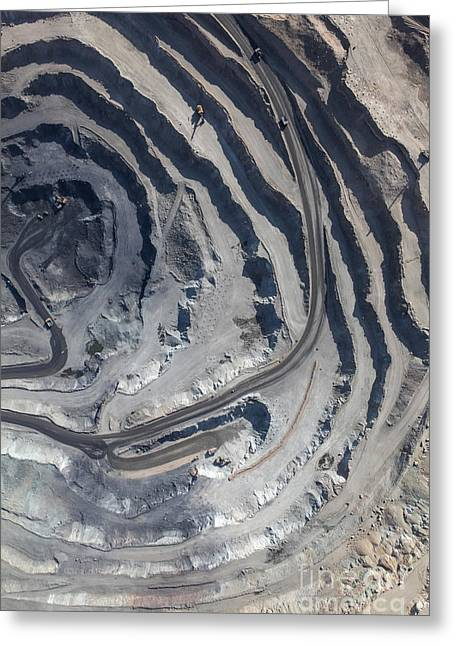 Aerial View To The Iron Ore Open Mine Greeting Card