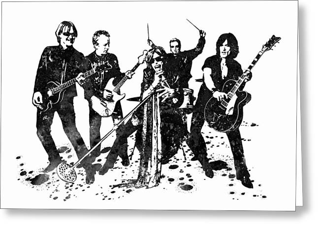 Aerosmith Band Black And White Watercolor 01 Greeting Card