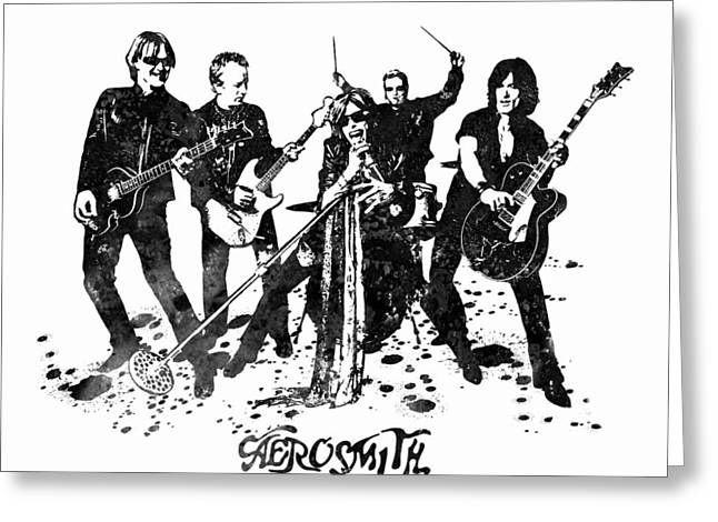Aerosmith Band Black And White Watercolor 02 Greeting Card