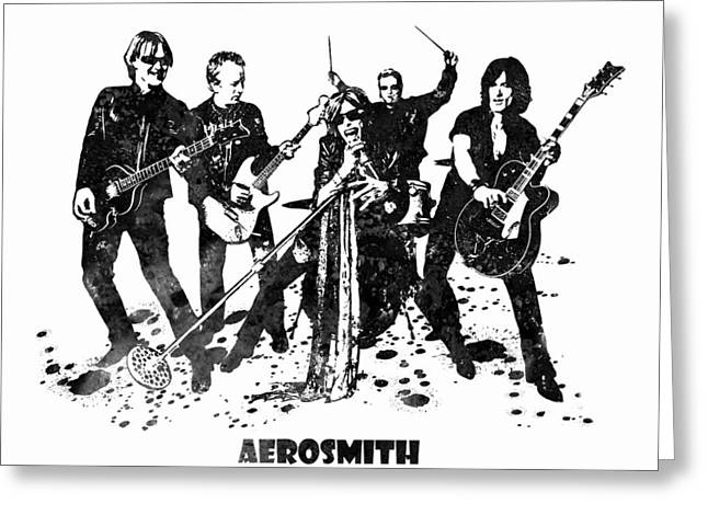 Aerosmith Band Black And White Watercolor 03 Greeting Card