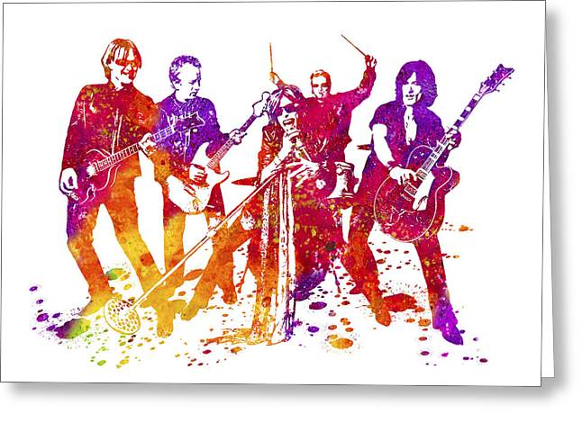 Aerosmith Band Watercolor Splatter 01 Greeting Card