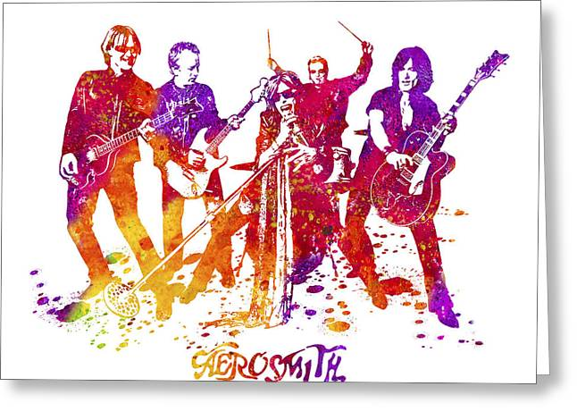 Aerosmith Band Watercolor Splatter 02 Greeting Card