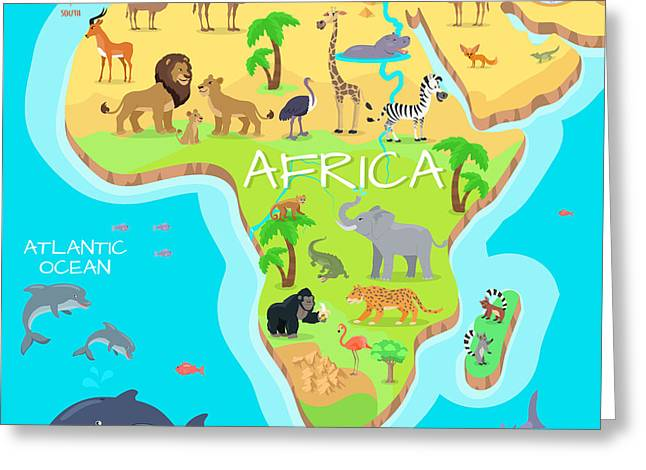 Africa Mainland Cartoon Map With Local Greeting Card