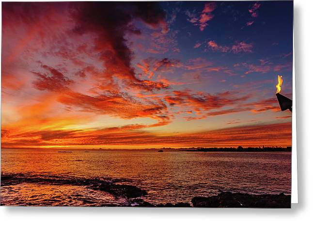 After Sunset Colors At Kailua Bay Greeting Card