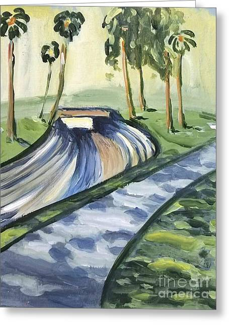 Greeting Card featuring the painting Afternoon In The Park by Maria Langgle