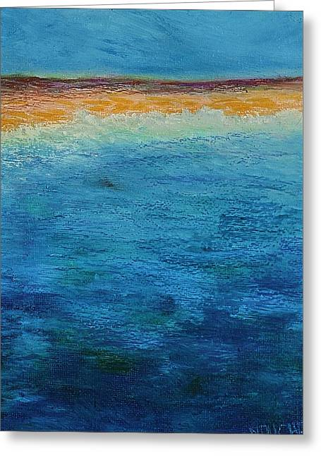 Greeting Card featuring the painting Aguamarina by Norma Duch