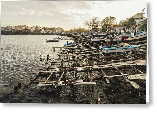 Greeting Card featuring the photograph Ahtopol Fishing Town by Milan Ljubisavljevic