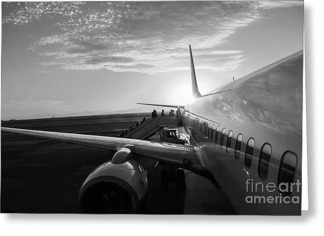 Aircraft In Airport At Sunset Greeting Card