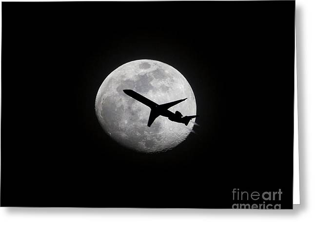 Airliner Passing In Front Of A Full Moon Greeting Card