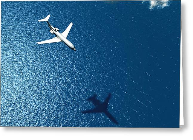 Airplane Flies Over A Sea Greeting Card