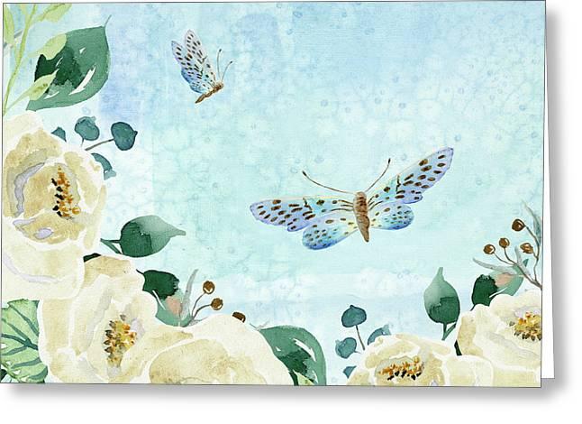 Alabaster Rose Garden In Blue 1 Greeting Card