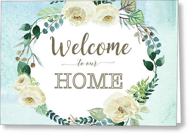 Alabaster Rose Garden Wreath 2 Greeting Card