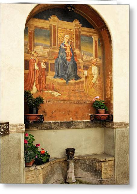 Alcove With Mary Jesus Fresco Greeting Card