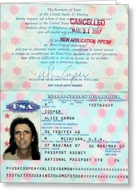 Alice Cooper Passport 1997 Greeting Card