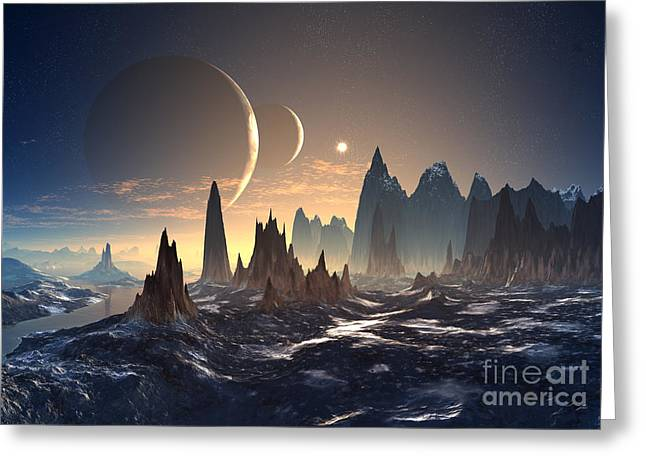 Alien Planet With Two Moons Greeting Card