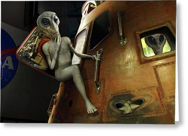 Alien Vacation - Cape Canaveral Greeting Card