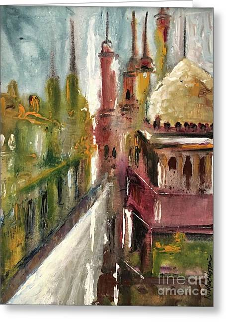 Greeting Card featuring the painting Mosque  by Nizar MacNojia