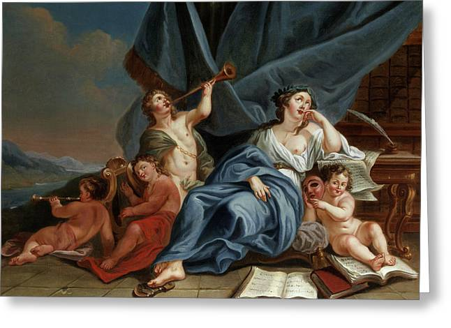 Allegory Of Music And Theater Greeting Card