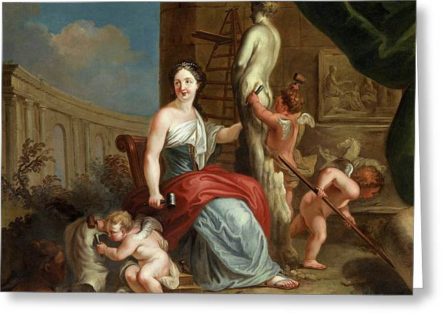 Allegory Of Sculpture And Architecture Greeting Card