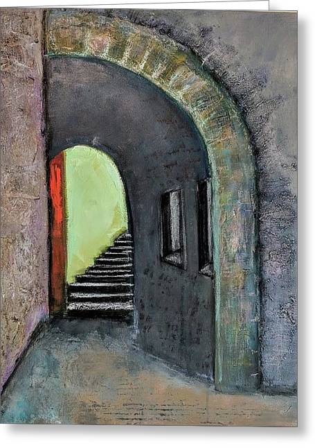 Greeting Card featuring the painting Alley Jaffa by Jillian Goldberg