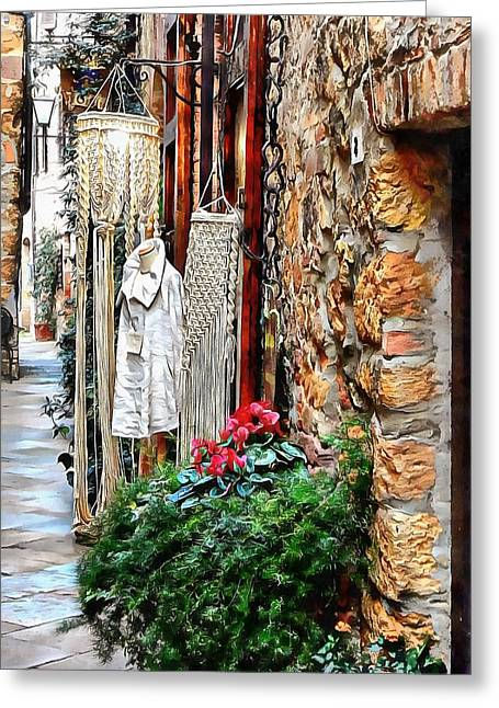 Greeting Card featuring the photograph Alley View To Shops Pienza by Dorothy Berry-Lound