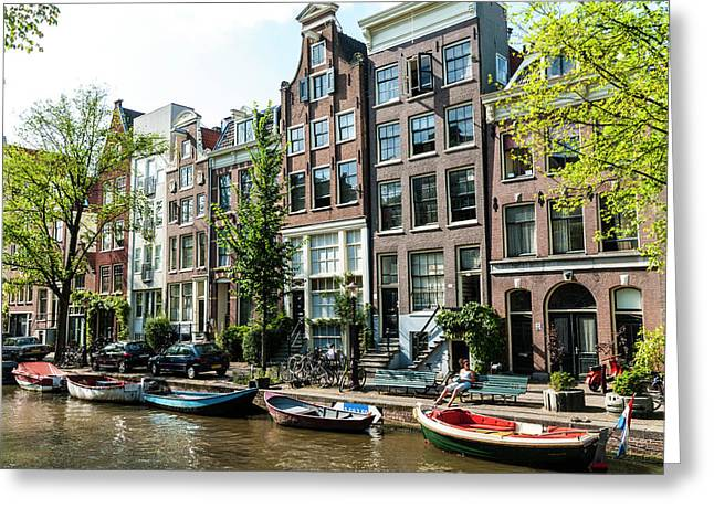 Along An Amsterdam Canal Greeting Card