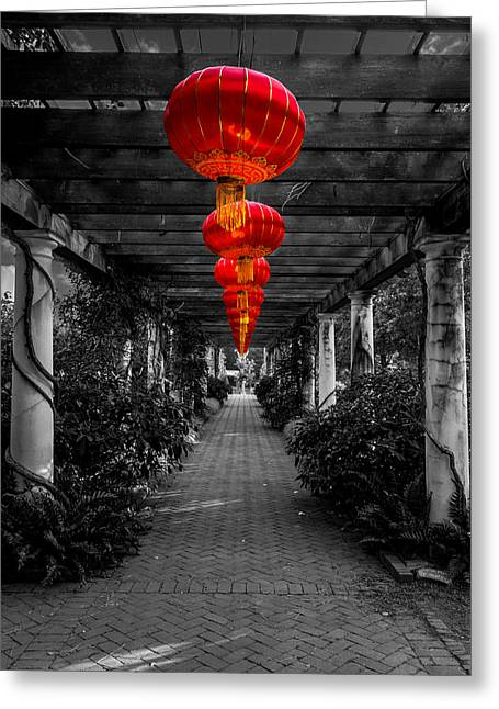Along The Red Path Greeting Card by Christine Buckley