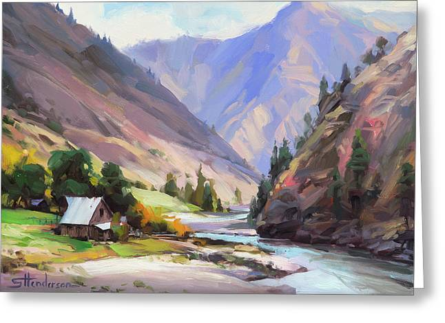 Greeting Card featuring the painting Along The Salmon River by Steve Henderson