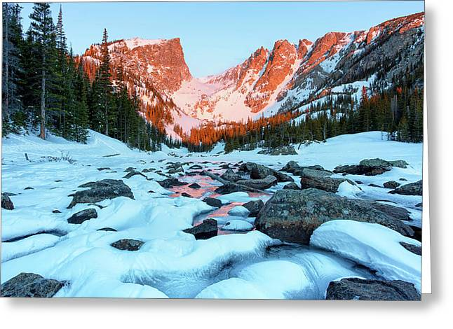 Alpenglow At Dream Lake Rocky Mountain National Park Greeting Card