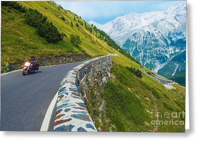 Alpine Road Biker. Motorcycle On The Greeting Card