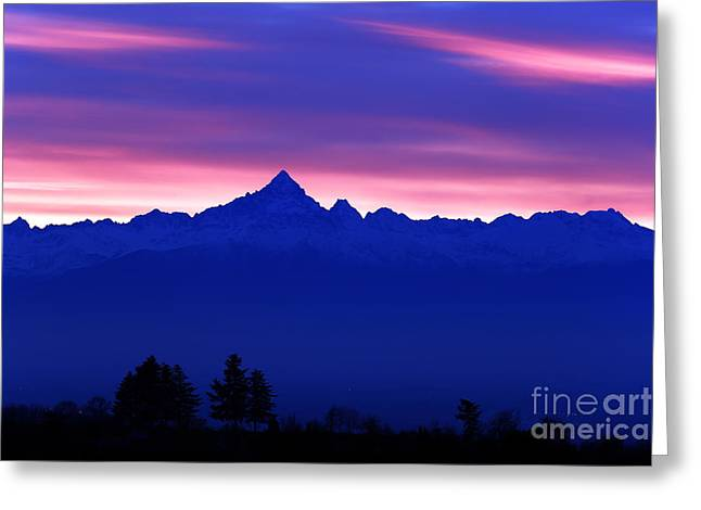 Alps Landscape At Sunset With The Greeting Card