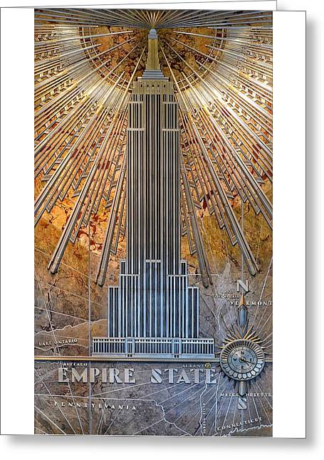 Aluminum Relief Inside The Empire State Building - New York Greeting Card