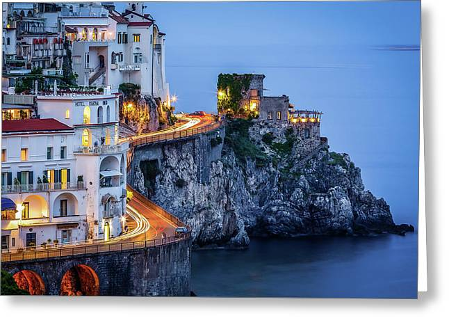 Greeting Card featuring the photograph Amalfi Coast Italy Nightlife by Nathan Bush