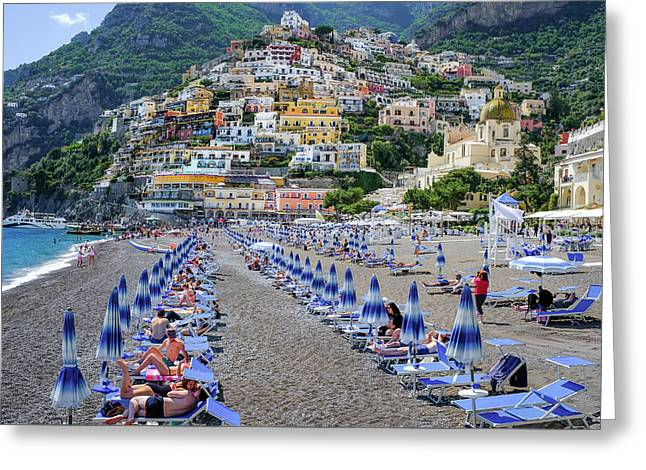 Greeting Card featuring the photograph The Colorful Beaches And Village Of Amalfi Italy by Robert Bellomy