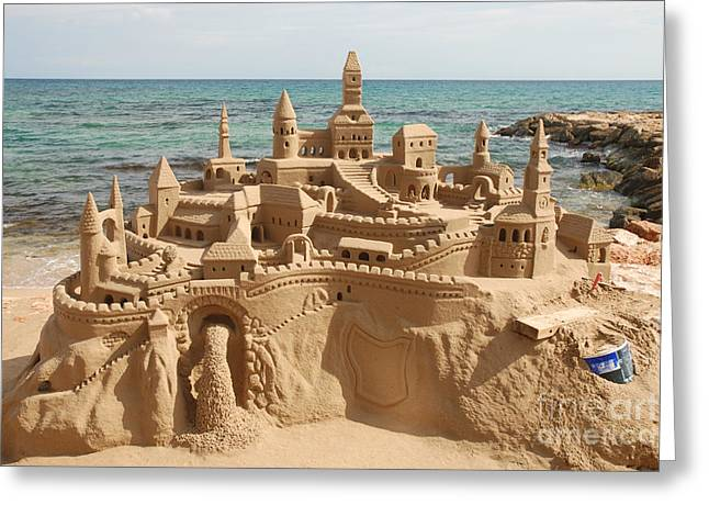 Amazing Sandcastle On A Mediterranean Greeting Card