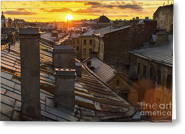 Amazing Sunset On The Roofs Of Greeting Card