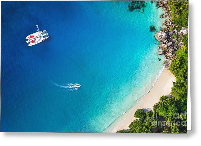 Amazing View To Yacht In Bay With Beach Greeting Card