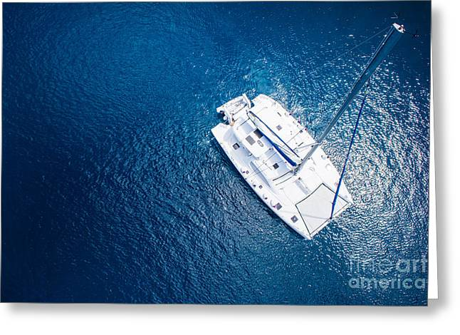 Amazing View To Yacht Sailing In Open Greeting Card